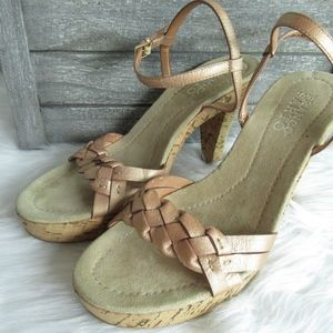 Franco Sarto Rose Gold Braided Cork Heels Sandals
